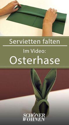 Servietten falten ganz leicht: Vorlage Osterhase - mit Video #vorlageosterhase #servietten #falten #tischdeko #froheostern #eastern #ostern