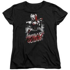 Now available: Batman Arkham Kni.... Check it out here! http://www.southofmemphis.com/products/batman-arkham-knight-quinn-city-short-sleeve-womens-tee?utm_campaign=social_autopilot&utm_source=pin&utm_medium=pin