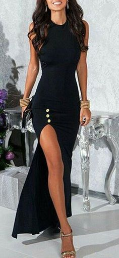 Sexy Black Round Collar Sleeveless High Slit Black Maxi Dress For Women # Sexy Dress - Jewelry Accessories Mode Outfits, Dress Outfits, Dress Up, Bodycon Dress, Fashion Outfits, Slit Dress, Dress Fashion, Sequin Skirt Outfit, Sexy Maxi Dress