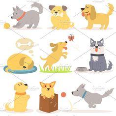 Vector set of funny cartoon dogs by KitVector on Puppy Room, Happy Puppy, Dog Illustration, Cartoon Dog, Funny Happy, Mammals, Pikachu, Puppies, Comics