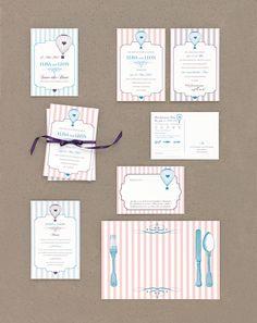 Heißluftballon - Papeterie, Hochzeitspapeterie, Karten, Einladung, Kirchenheft, Danksagung, Save-the-Date, Menü, Programmheft, Hochzeitszeremonie