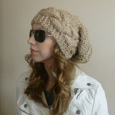 THE CABLED HIVE Slouchy Beanie Slouchy Hat by BoPeepsBonnets, $48.00