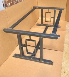 Super Heavy Duty Design Modern Table Base, 2 Bars With Square/Rectangle In The Middle, Set of 2 Legs And 3 Cross Braces Wooden Shelf Brackets, Wooden Shelves, Steel Table Legs, Dining Table Legs, Industrial Table, Steel Furniture, Modern Table, Welding, Decorating Games