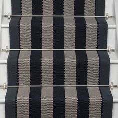 Roger Oates Fitzroy Black stair runner carpet with Polished Nickel stair rods on white painted staircase Best Carpet, Diy Carpet, Rugs On Carpet, Carpet Ideas, Cheap Carpet, Striped Carpet Stairs, Striped Carpets, Stair Carpet, Hall Carpet