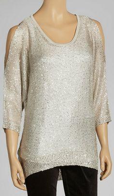 Sand Sparkle Cutout Sweater