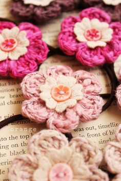 crochet flower pony holder