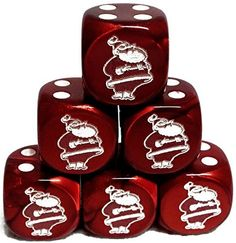 Custom & Unique {Standard Medium 16mm} 6 Ct Pack Set of 6 Sided [D6] Square Cube Shape Playing & Game Dice w/ Rounded Corner Edges w/ Christmas Jolly Santa Outline Design [Red & White] mySimple Products