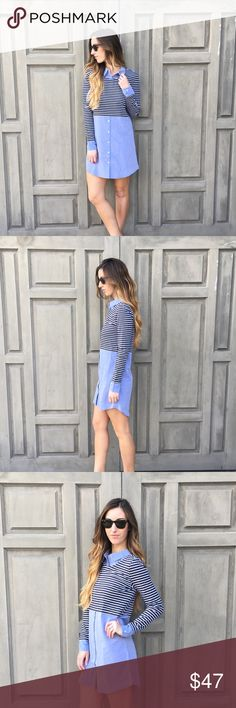 chambray-stripe mixed shirt dress offers welcome light blue chambray dress with collar a striped bust/arms. modeling size small. •34115094• Dresses Long Sleeve
