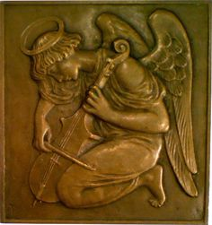 L'Ange au Violon Plaque by Theodore Spicer-Simson (1905)