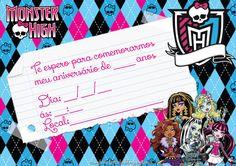 convite aniversário monster hight grátis imprimir Festa Monster High, Monster High School, Monster Party, Monster High Invitations, Overlays, Monsters, Printables, Stickers, Invitation Templates
