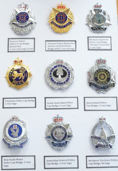 Collection of Australian Police badges Police Post, Police Life, Police Gear, Military Police, Police Badges, Car Badges, Fire Badge, Law Enforcement Badges, Police Lives Matter