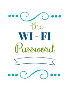 Display this Wi-Fi Password printable for your guests so they never have to ask for your password again. Wi-Fi Password Wi-Fi Password (color) This is the printable in the 31 Days of Free Printables Free Printable Art, Printable Crafts, Free Printables, Wifi Password Printable, Guest Basket, Craft Projects, Craft Ideas, Guest Room, Wi Fi