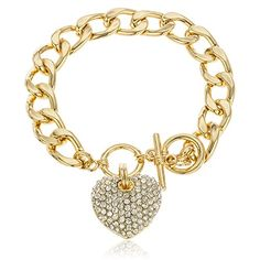 Goldtone with Clear Iced Out Heart 8.5 Inch Cuban Link 12mm Toggle Bracelet JOTW