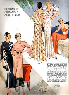 From Woman's Journal May 1933. #vintage 1930s fashion illustrations vintage fashion style color photo print ad black pink floral dress gown