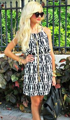 Black Print Short Dress