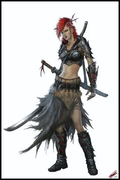 Belkala by ~StandAlone-Complex on deviantART hair, accessories, fur and cloth skirt, three swords