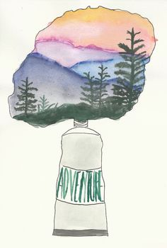 adventure watercolor painting, mountains and evergreen trees