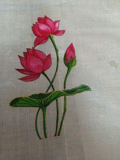 Lotus Painting, Dress Painting, Silk Painting, Painting Art, Saree Painting Designs, Fabric Paint Designs, Hand Painted Sarees, Hand Painted Fabric, Bed Sheet Painting Design