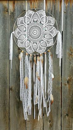"This beautiful handmade dream catcher is hand crafted using real turquoise and 100% hand crocheted doily. 14"" amazing detail!:"