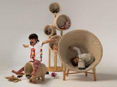 """Nido Muebles es una compañía dedicada a desarrollar ambientes apropiados para los niños, con la cual colaboró el diseñador Christian Vivanco en el proyecto Traven, que toma el nombre como homenaje al cuento de Bruno Traven, """"Canastitas en serie""""."""