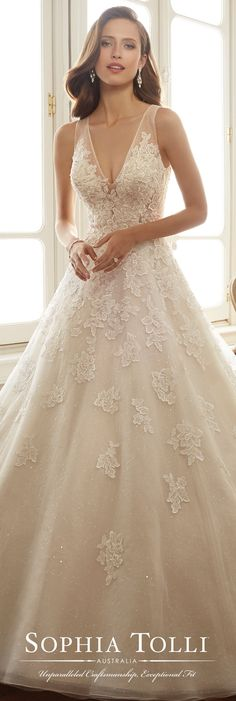 Sophia Tolli Spring 2017 Wedding Gown Collection Style No. Ciel sleeveless lace and tulle wedding dress with illusion back Sparkly Bridal Beige Wedding Dress, Tulle Wedding Gown, Wedding Dress Necklines, Wedding Dresses With Straps, Bridal Dresses, Lace Wedding, Illusion Neckline Wedding Dress, Wedding Gown A Line, Sparkle Wedding