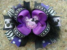 Disney Hair Bow Boutique hair bow Minnie Mouse Hair Bow hair clip  Purple Feather Hair Bow on Etsy, $11.50