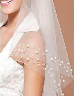 2T White/ivory Elbow Beaded Edge pearl sequins Bridal Wedding Veil+Comb