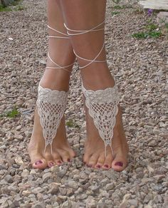 Crochet Barefoot Sandals, Tan Barefoot sandles,Beach Pool,Nude shoes,Foot jewelry on Etsy, $11.00