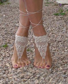 Crochet Barefoot Sandals Tan Barefoot sandlesBeach by AkBro, $12.00