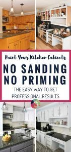 WHAT?! You can paint your kitchen cabinets without priming or sanding. Wooo hooo! No I finally know how to paint kitchen cabinets without it taking forever. Totally going to try this. This blogger shared how her cabinets are holding up 2 years later and they still look great!