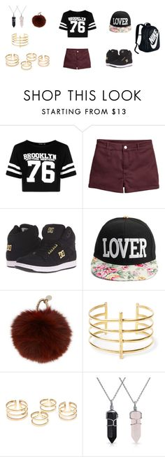 """""""Slaying the day"""" by semaroney on Polyvore featuring Boohoo, DC Shoes, Yves Salomon, BauXo, Bling Jewelry and NIKE"""