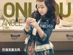 Online Shop 2014 Autumn Girls Jeans Cowboy Clothing Coat Sweater Jacket Outerwear+lace skirt Children Kids Baby Clothing Set Clothes Suit|Aliexpress Mobile
