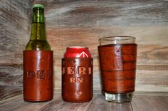 Leather Wraps for can, bottle, or pint glass by 5DLeather on Etsy https://www.etsy.com/listing/263946986/leather-wraps-for-can-bottle-or-pint