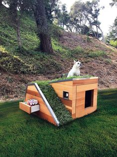Cool DIY Dog House Plans Anyone Can Build DIY Projects There are many options available for you when looking for cool dog houses for your dog. There are many types of dog houses available, and some types a. Fancy Dog Houses, Canis, Dog House Plans, House Dog, Luxury Dog House, Pallet Dog House, Dog Furniture, Cheap Furniture, Luxury Furniture