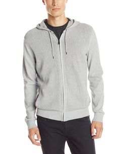 Kenneth Cole Men's White Coated Hood, Heather Grey, Small. Zip-up sweater featuring open-weave body and metallic aglets at hoodie drawstring. Ribbed cuffs and waistband.