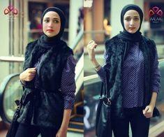 blue fur vest hijab style- Aalaa designs winter collection http://www.justtrendygirls.com/aalaa-designs-winter-collection/