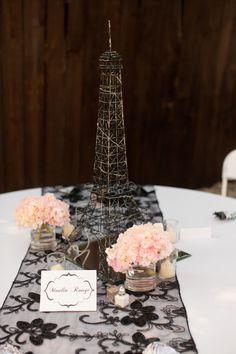 Paris theme Eiffel Tower center pieces