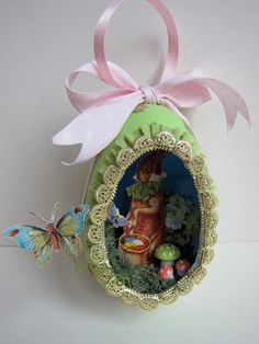 OOAK Easter Egg Diorama Ornament  Vintage Style Papier by kaniko, $46.00