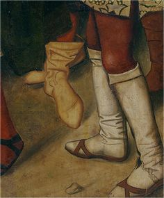 Estivales el calzado amarillo. Borceguís el calzado blanco con chinelas. XV. Fernando I de Castilla acogiendo a Santo Domingo de Silos, Bartolomé Bermejo, Museo del Prado, Madrid (detalle)