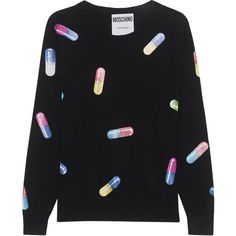 MOSCHINO All Over Pills Black // Virgin wool sweater with prints (8.713.800 IDR) ❤ liked on Polyvore featuring tops, sweaters, loose sweater, loose fit tops, print sweater, patterned tops and loose fitting tops