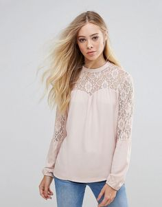 b.Young Lace Insert Blouse - Pink