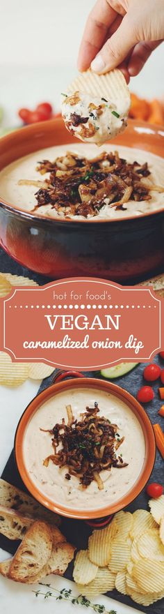 vegan caramelized onion dip | RECIPE on hotforfoodblog.com