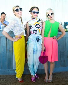 Colorful Trio- live life in color. They look great. I would wear each outfit.