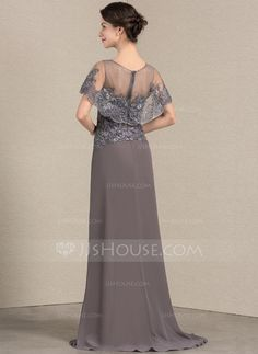 A-Line/Princess Scoop Neck Sweep Train Chiffon Lace Mother of the Bride Dress (008143373) - JJsHouse