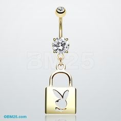 Golden Lock Playboy Bunny Belly Ring