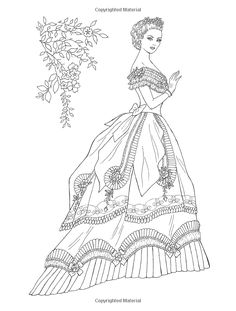 Welcome to Dover Publications - CH Victorian Gowns Detailed Coloring Pages, Coloring Book Pages, Victorian Gown, Victorian Fashion, Creative Haven Coloring Books, Dover Publications, Free Coloring, Colorful Fashion, Embroidery Patterns