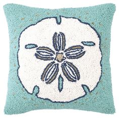 One Kings Lane - Dreaming of the Sea - Sand Dollar 16x16 Wool Pillow, Turquoise