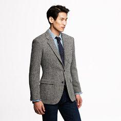 Ludlow sportcoat in bird's-eye Harris Tweed wool