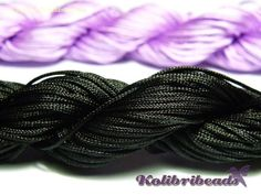 28m Nylon Macramé Cord 1mm Black by KolibriBeadSupplies on Etsy, €1.25