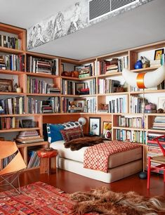 Architectural Digest, Los Angeles Apartments, Home Library Design, Home Libraries, One Bedroom, Bedroom Decor, Apartment Living, Living Room, Interior Design